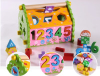 Hot Kids Funny Number Puzzle Toys Wooden Numbers House Building Blocks Toys Model Building Kits