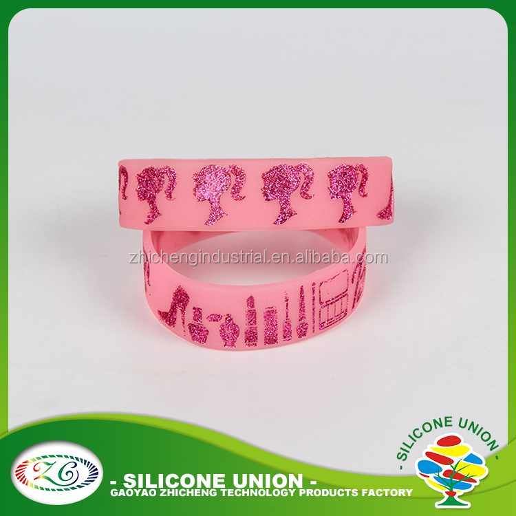 Custom logo color filled silicone bracelet with metal clasp