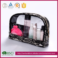 2015 New Professional Manufacturer Cosmetic Black Lace Pattern Transparent Make-Up Bag
