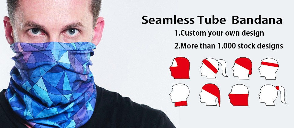 OEM Design Tube Multi Head Wear Face Mask Custom Made Bandana with Hair Attached