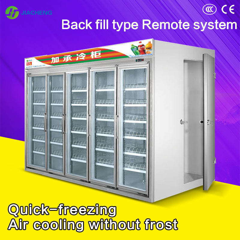 Jiacheng air cooled beverage display chiller cooler refrigerator 4 glass doors Back filling cold storage 9000L