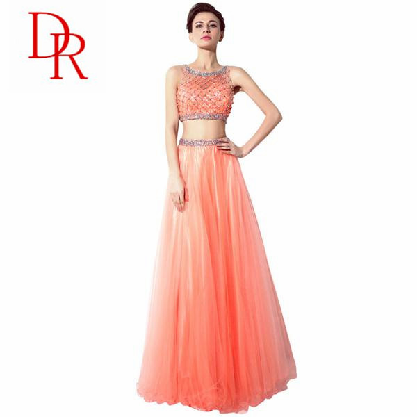 Top selling new design modern organe beaded hardword high quality bare midriff floor-length evening dress two piece