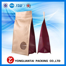 Food grade clear window stand up flat bottom kraft paper packaging bags with zip lock