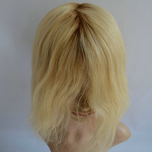 blond color with dark roots-full swiss lace wig