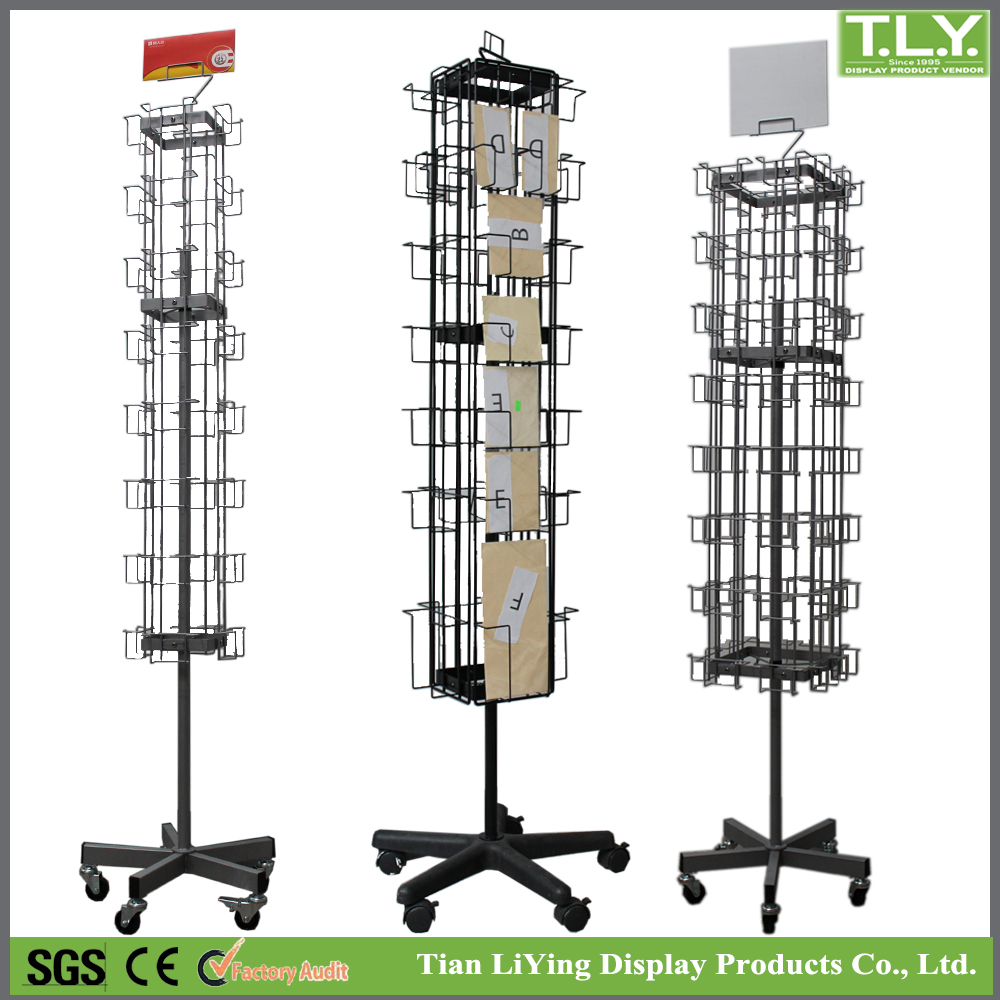 SSW-CM-101 Rotatable Metal Gift Card Display Stand with Casters