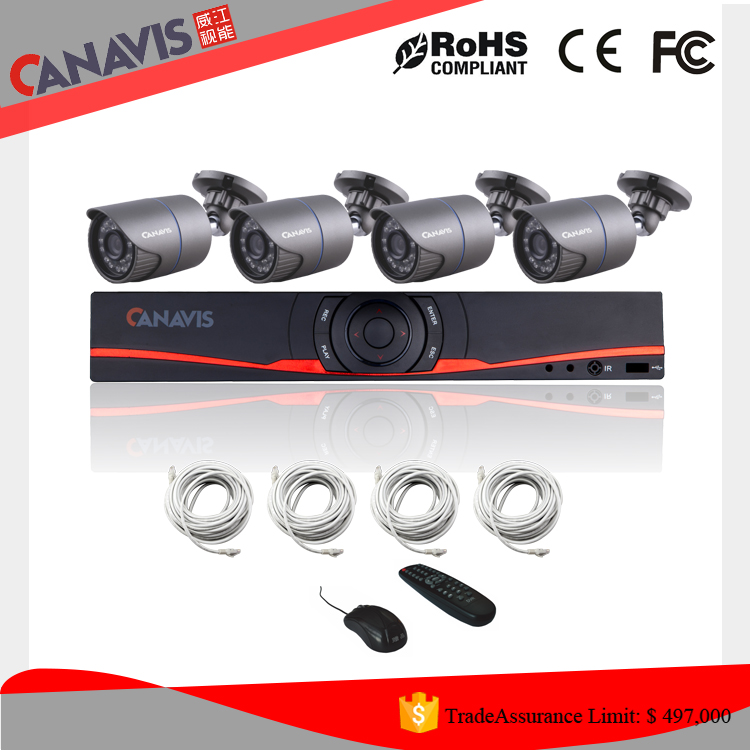 Wholesale!2016 hotsale outdoor cctv security system 4Ch HD 1 megapixel IP camera h 264 surveillance kit