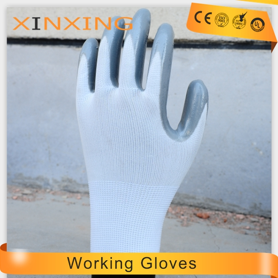 malaysia hand job Nylon Nitrile coated working safety nitrile dipped glove cut resistant printed with logo
