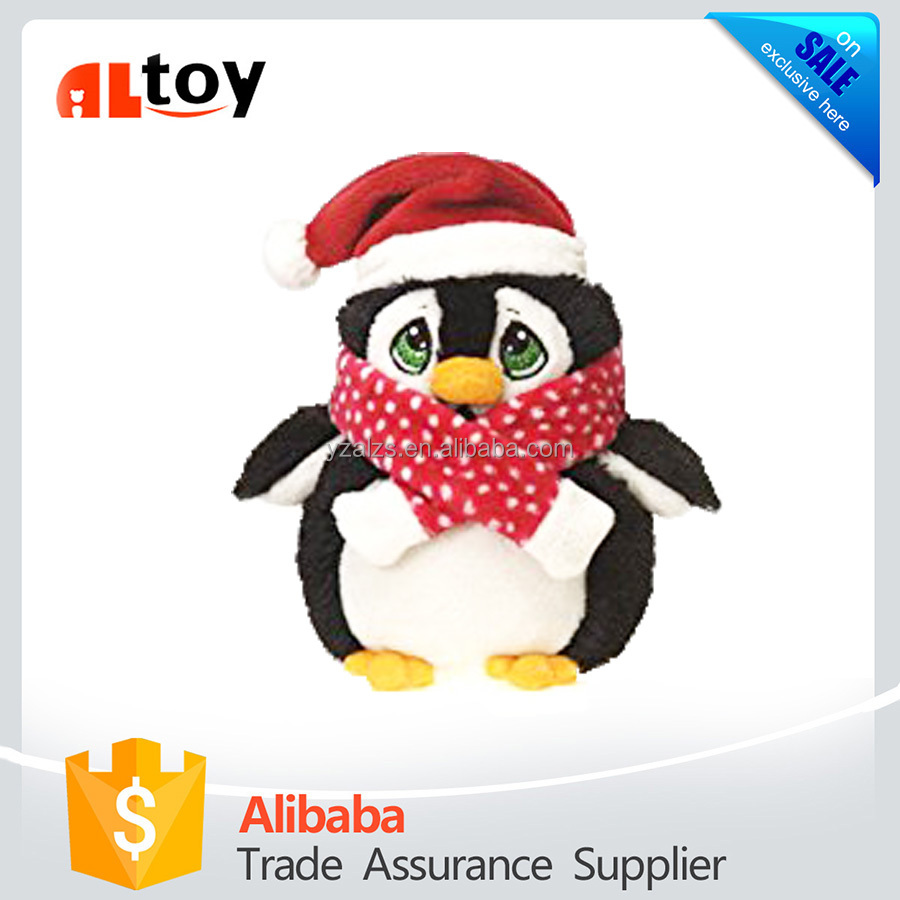 Christmas Penguin with Glittered Eyes and Red Scarf Toy