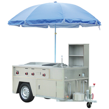 Stainless steel snack food hot dog cart with umbrella for sale BN-630
