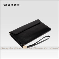 High Quality Smart Soft Black Sheepskin Men Long Wallet