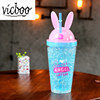 The hottest hard plastic cup with straw support logo printing juice cup with straw