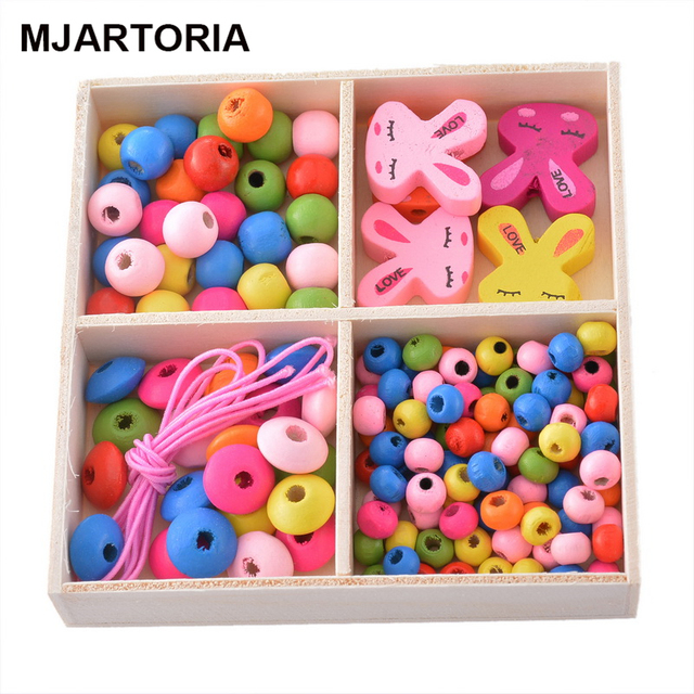1Box Creative Multicolor Patterns Mixed Wooden Beads DIY Jewelry For Children Necklaces Bracelets Making Puzzle Crafts 9x9cm