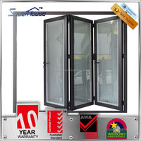 Australia AS2047 Standard double glass cheap prices patio interior horizontal folding doors with blinds inside