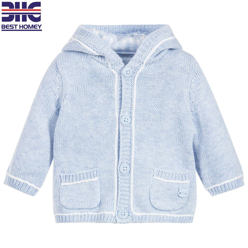 Children's 100% cotton round neck button cartoon knitted hoodies sweater designs for baby boy with two pocket