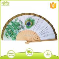 custom printing paper wooden hand folding fan