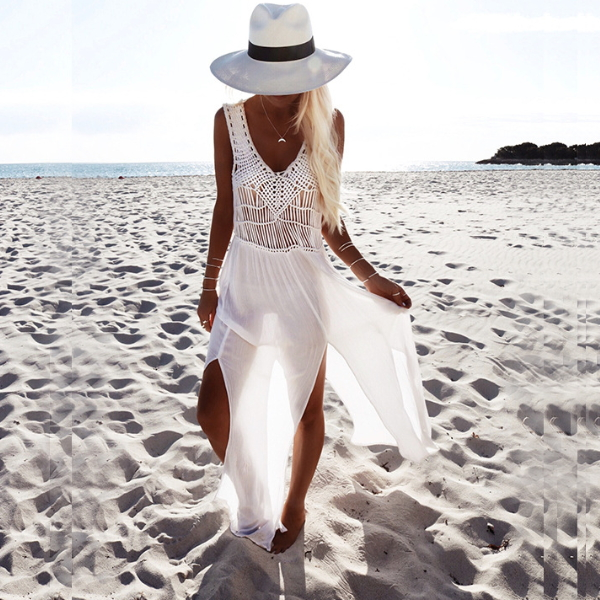 MS68244W white chiffon women beach wear boho long maxi dresses