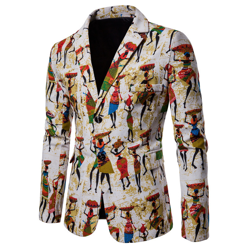 Personality African Printed Cotton And Linen Jacket Men's Casual Suit Jacket