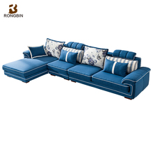 New design fancy modern fabric sofa made in china folding blue nordic linen sofa sets for living room