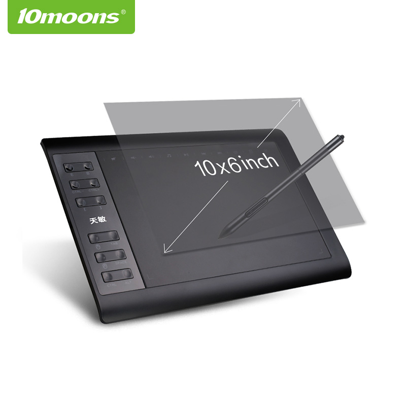 10moons <strong>10</strong>*6 Inch Professional 8192 Levels No need charge Pen Tablet digital Graphic drawing Tablet
