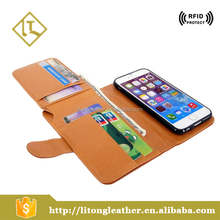Alibaba China Supplier genuine leather smart phone wallet style leather case