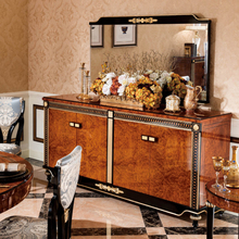 YB69 Luxury Gold Painted Decorative Side Cabinet, Dining Room Wooden Sideboard, Antique Carved Wooden Buffet