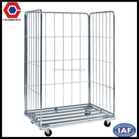 Heavy duty folding steel wire mesh rolling cage container, for workshop