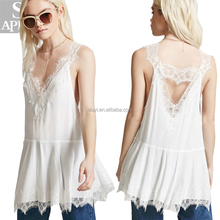 Crepe eyelash lace tunic custom tank women wear clothing plain lace straps and trim crop tops wholesale apparel top dress