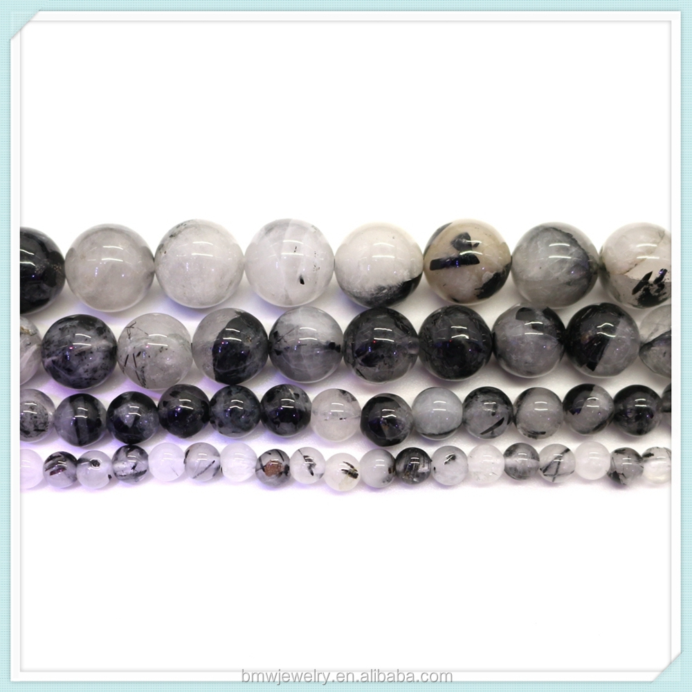 "Hot Sale 6mm 8mm 10mm 12mm smooth Black Rutilated Quartz Round Beads 15"" Pick Size natural stone jewelry wholesale"