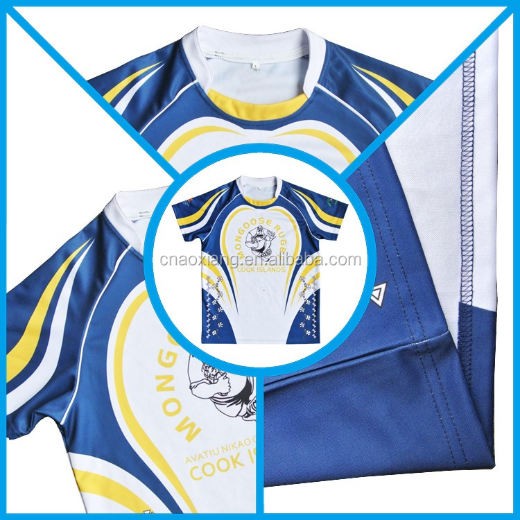 2017 custom team set cheap dry fit rugby jersey with number and Logo