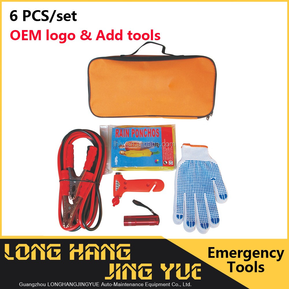 OEM optional tool 6pcs auto safety kit car accessory warning road tools car emergency tool kit