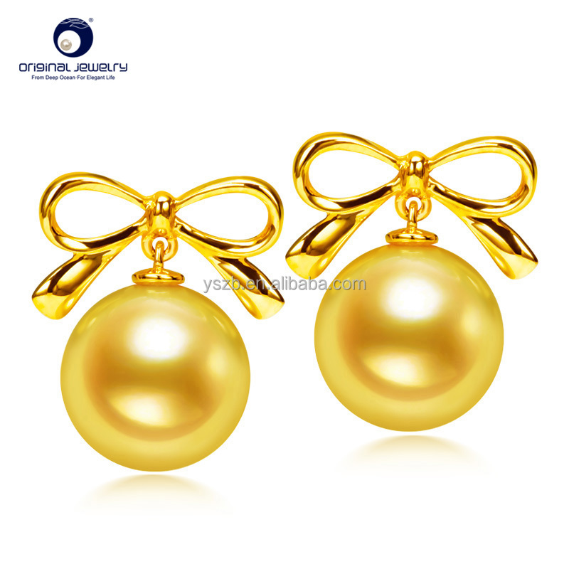 [YS] Fine Jewelry Hot Sales 7.5-8mm 18k Gold Genuine Seawater Cultured Akoya Pearl Stud Earrings For Girls