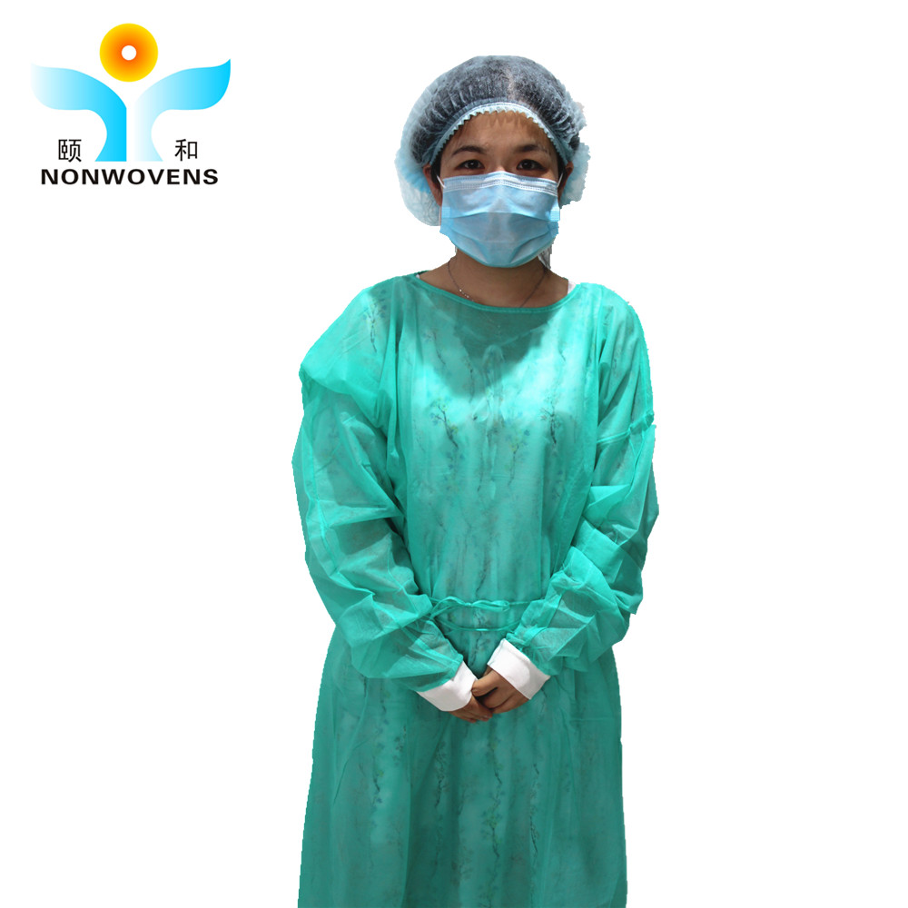 Yihe High quality cheap non woven yellow medical PP disposable doctor use isolation gown