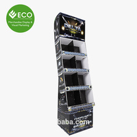 Six Shelves Printing Cardboard Display, Folding Paper Display, Supermarket Display Unit