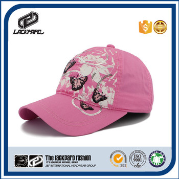 Ladies 6 panel cotton custom baseball cap