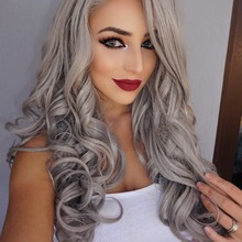 Silk Straight Ombre Silver Grey Synthetic Lace Front Wig Glueless Two Tone Natural Black/Grey Heat Resistant Hair Wigs