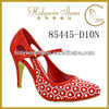 Holywin red pearl shinning rhinestones low heel women bridal wedding shoes