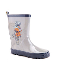 Best price oem fantistic design comfortable kids toddler cool grey dinosaur printing wild calf half plastic galoshes boots for b
