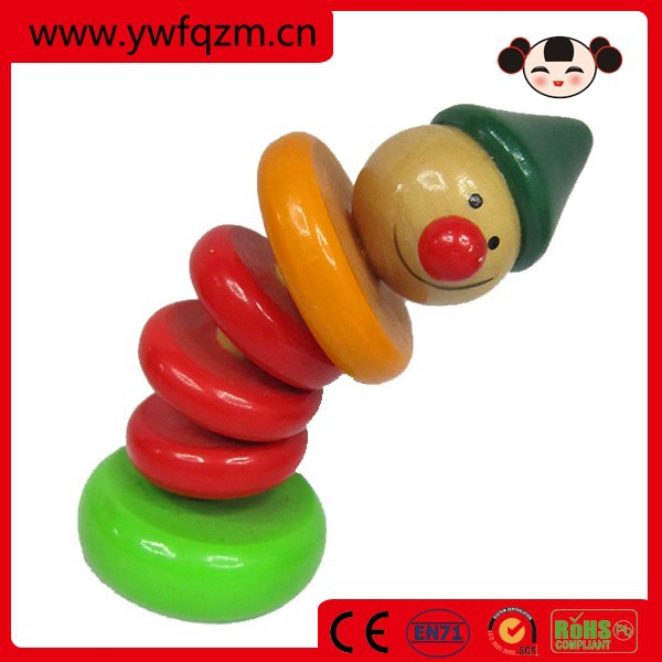 wood clown figure push up toy for kids