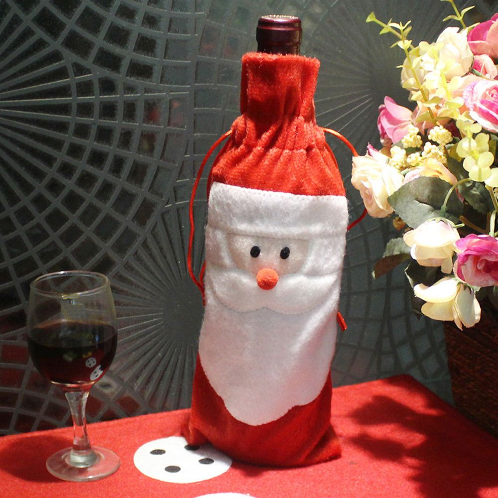 Santa Claus Christmas Decoration for Home Xmas Wine Bottle Bag Party Banquet Decoration for Christmas Xmas Wine Bottle Cover