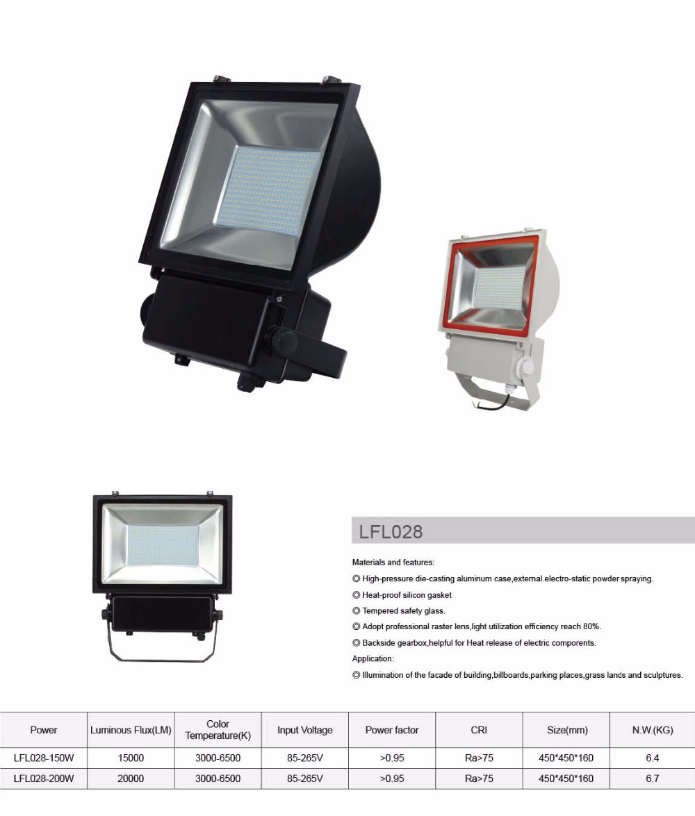 German technology led projector outdoor 150w led flood light