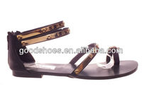 Fashion flat summer sandals 2014 for women strap upper metal decoration