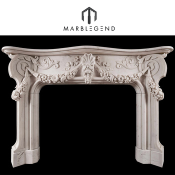 Hand Carved Chinese Pure White Marble Fireplace Mantel