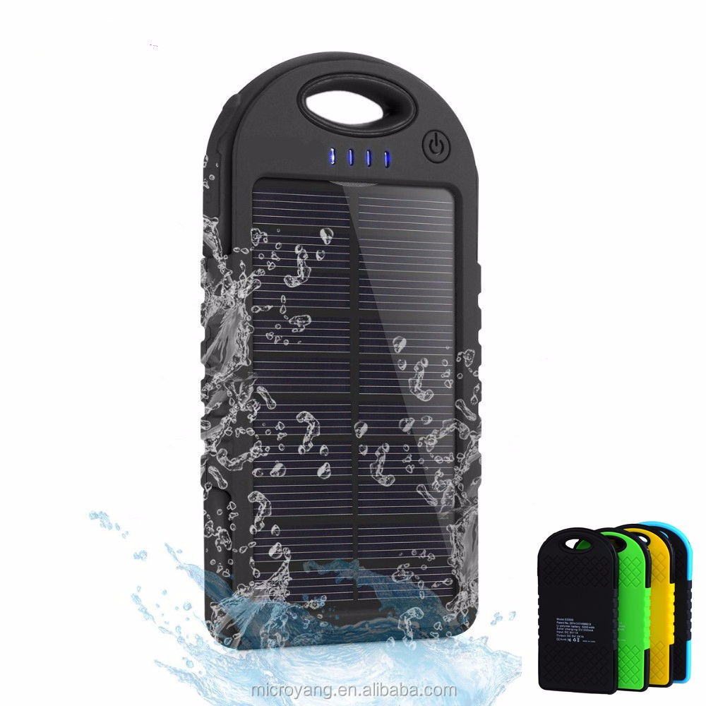 Dual USB 5000 mAh Waterproof Solar Power Bank Oudoor Charger for iPhone Android