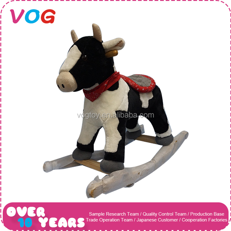Bouncing wooden ride on horse toy pony plush rocking horse handles indonesia