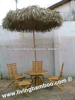 ACTOR GLASS BAMBOO DINING SET WITH UMBRELLA