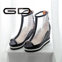 sexy transparent net upper wedge heel summer fashion design sandals