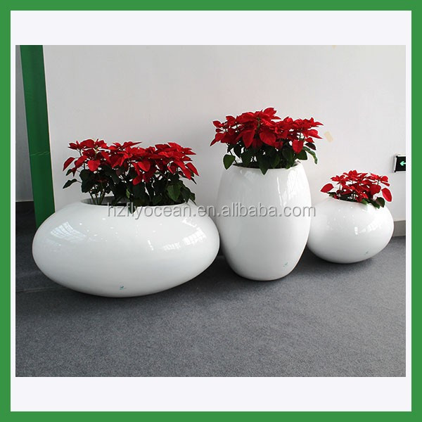 FO-326 light weight planter,egg shape fiberglass flower pot set