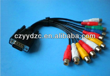 Vga to 6 rca composite cables s video cables