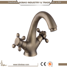 China Dragon style Antique chrome finish faucet bathroom sink and basin mixer taps with double handle