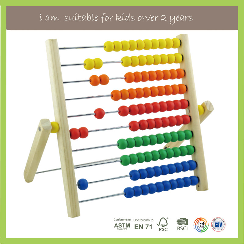New Design Promotional Wooden Abacus Learn Toy Counting Stacker Game